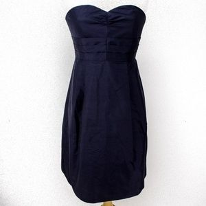 Ann Taylor 4 Formal Dress Strapless Fit Flare Navy